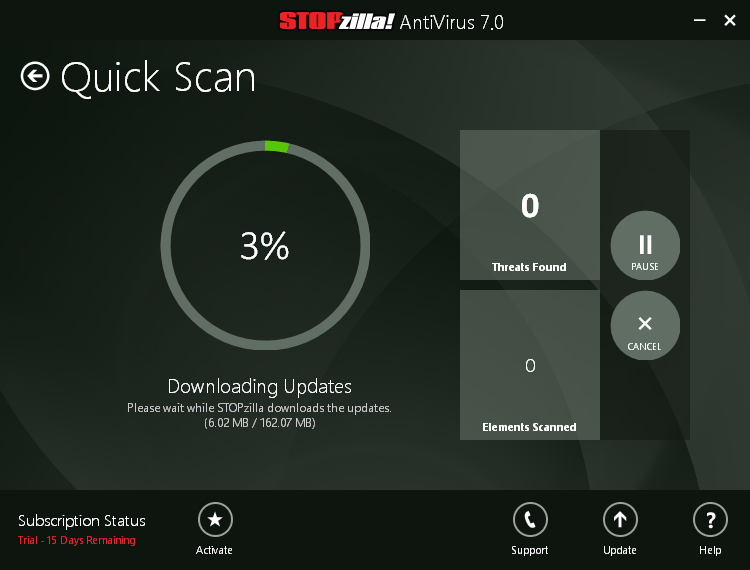 STOPzilla antivirus 7 quick scan