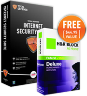 Total Defense Total Defense ISS US Annual + H&R Block at Home Deluxe Edition Bundle Coupon Sale